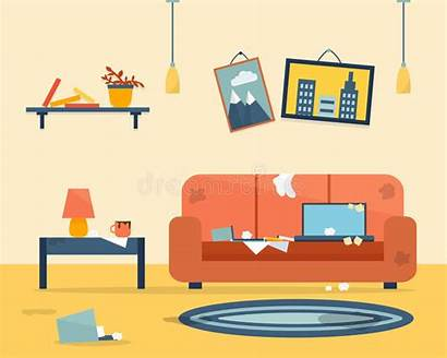Dirty Clipart Disorder Interior Illustration Cleaning Apartment