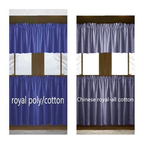 solid royal blue cotton kitchen tier cafe curtains