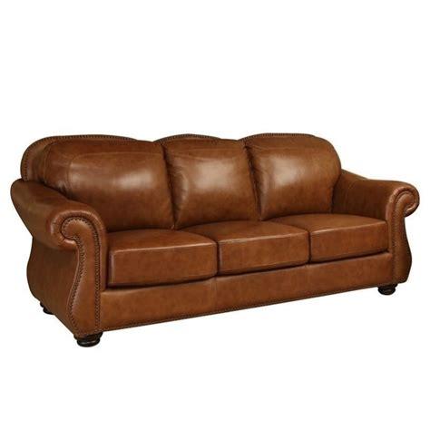 abbyson living erickson leather sofa in camel brown sk
