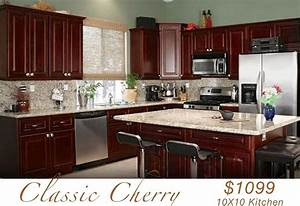 All wood kitchen cabinets 10x10 rta classic cherry ebay for Cherry wood kitchen cabinets