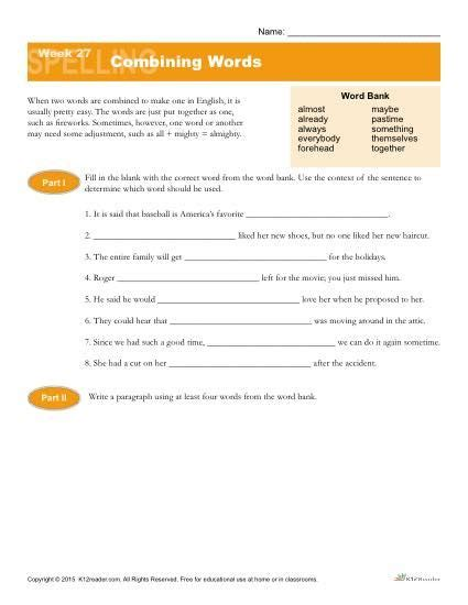 high school spelling words list 27 combining words k12