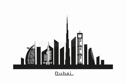 Dubai Cityscape Silhouette Skyscrapers Landmarks Landscape