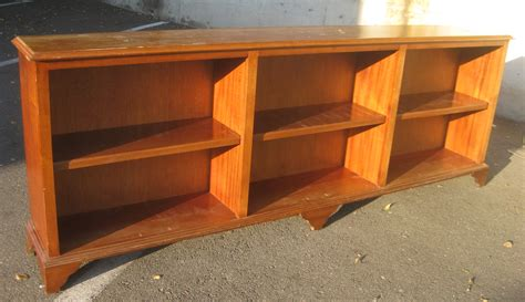 Long Light Brown Lacquered Oak Wood Low Bookcase Which