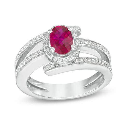 oval lab created ruby and white sapphire split shank wrap ring in sterling silver silver