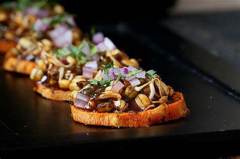 bread canape recipes potato canapes with barbecue mung bean sprouts