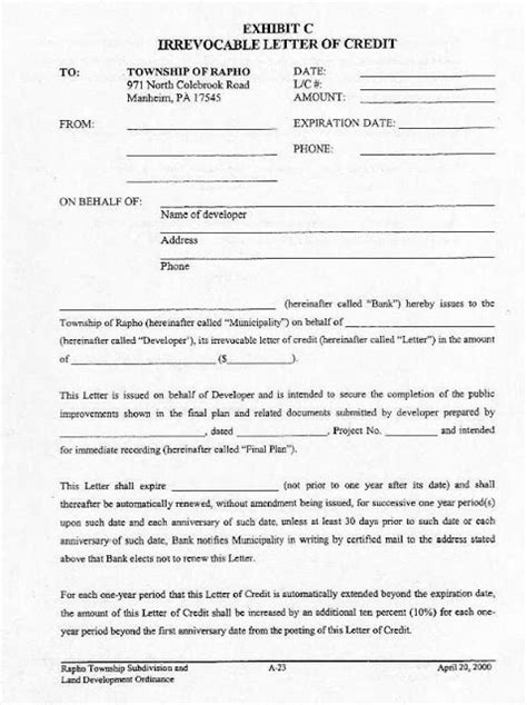 irrevocable letter of credit tender forms and schedules electrical knowhow