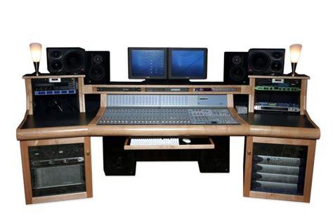 a custom recording studio desk that looks like it has