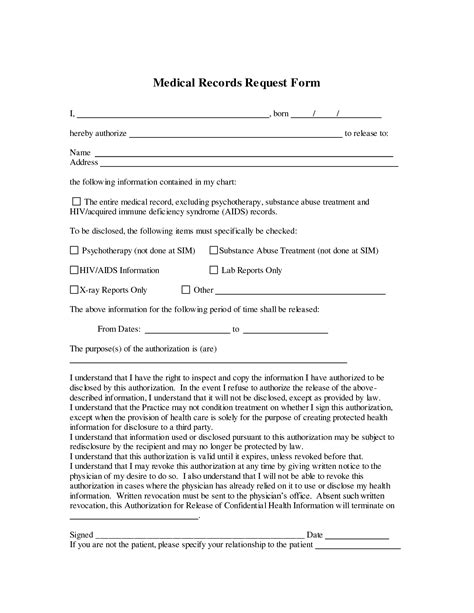 medical records release form template medical record release form template