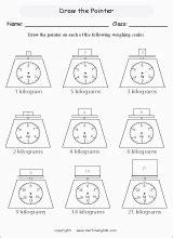 draw pointer  scales printable grade  math worksheet