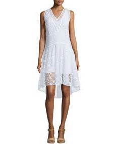 Restock Miyake Dress Salt sleeveless v neck tile lace dress sea salt