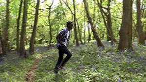 Runner. Boy Running Through The Forest. Guy Jogging. Young ...
