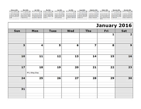 monthly calendar template months top printable