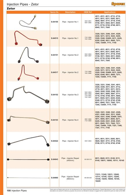 fuel injection cables page 110 sparex parts lists diagrams