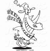 Outline Coloring Rhino Unicycling Cartoon Unicycle Toonaday sketch template