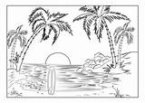 Coloring Island Paradise Landscapes Beach Palm Sun Setting Trees Landscape Tropical Adults Pages Adult Surfboard Nature sketch template