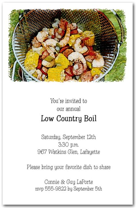 awesome  country boil party invitations