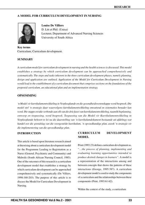 Modele Curriculum by Pdf A Model For Curriculum Development In Nursing