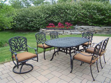 oakland living aluminum patio dining set 72 x 42 quot oval