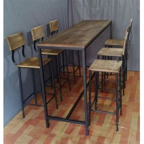 industrial high top table metal and wood tall bar table for 6 google search