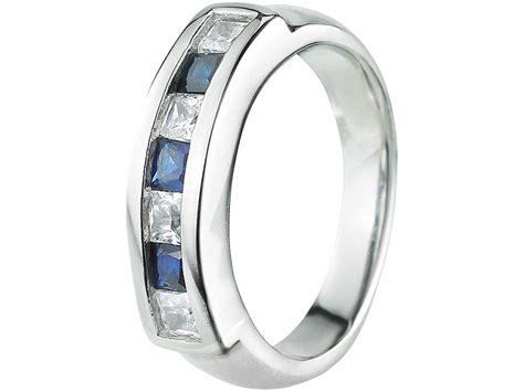 st leonhard damenring aus edelstahl mit wei 223 en blauen steinen gr 54