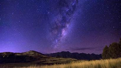 Milky Sky Starry Way Night Field Horizon