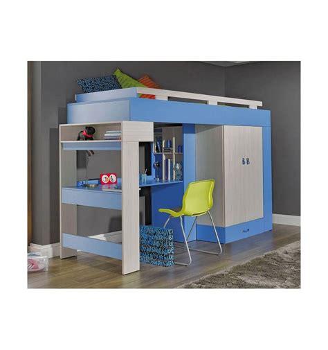 lit bureau combiné lit combiné bureau enfant libellule bleu mobiler d
