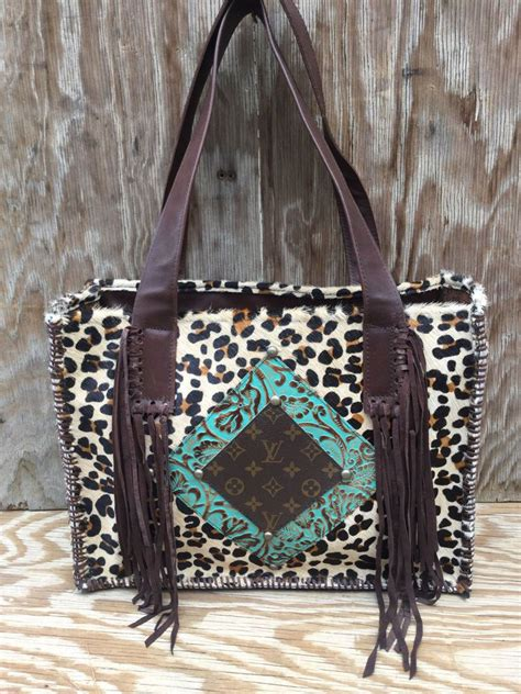 upcycled louis vuitton western leather bag rodeo purse  fringe cheetah bk ebay cowhide