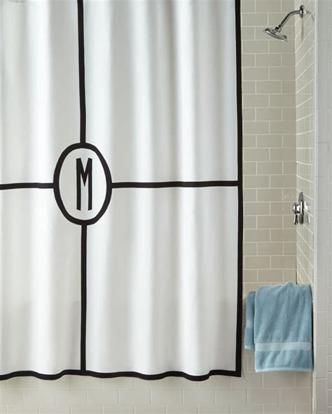Fabric Shower Curtain With Liner by Parterre Monogrammed Shower Curtain White Silver Shower