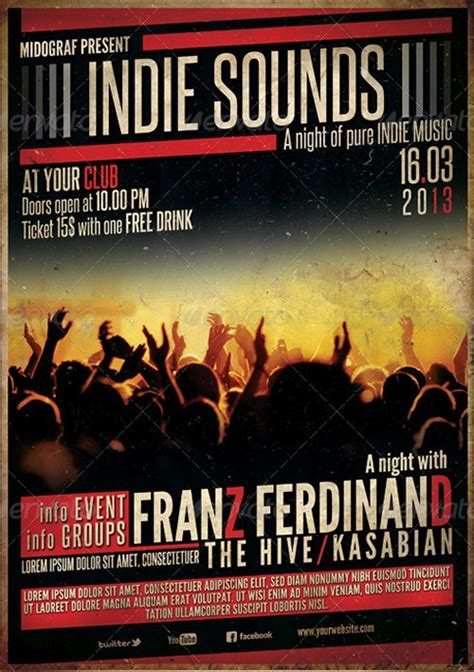 Concert Banner Template Psd Free by 35 Amazing Gig Poster Flyer Templates Graphic Design And