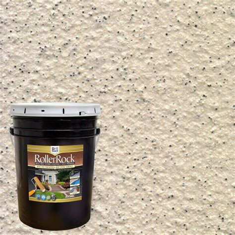 textured outdoor floor paint daich rollerrock 5 gal self priming ivory exterior concrete coating rrpl iv 189 the home depot
