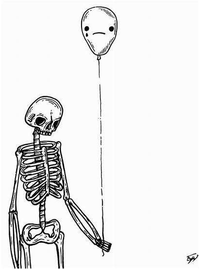 Skeleton Easy Drawings Sad Step Drawing Depressed