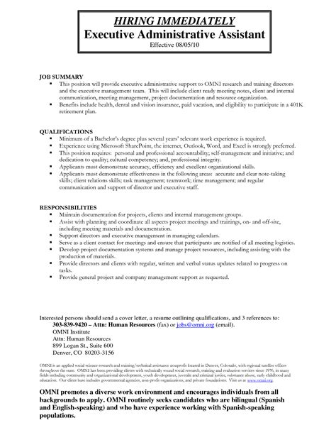 doc 692876 exle resume administrative assistant