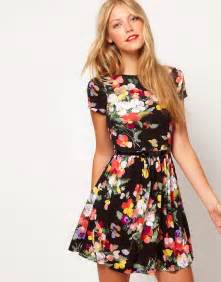 asos asos skater dress in large floral print at asos