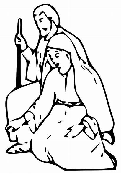 Mary Joseph Jesus Lds Nativity Clipart Coloring