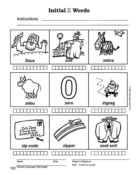 three letter z words speech therapy with miss z initial words 25286 | Z initial 122