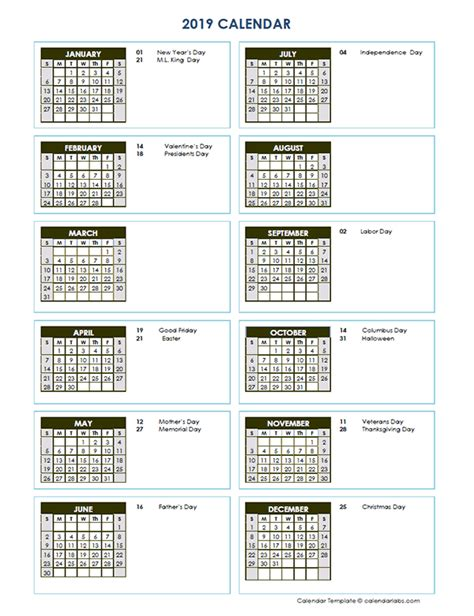 full year calendar vertical template  printable