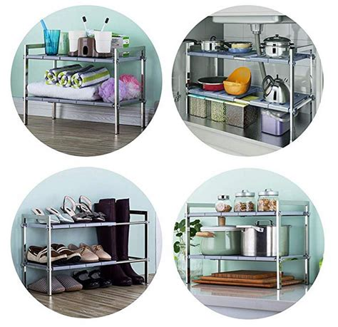 tier expandable  sink kitchen storage rack  thrifty mom recipes crafts diy
