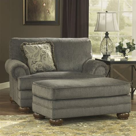 blue oversized chair and ottoman ashley parcal estates fabric oversized chair with ottoman