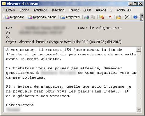 exemple message d absence du bureau mails d 39 absence les meilleurs messages automatiques
