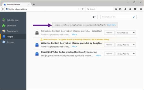firefox 53 shows notification about deprecated plugins