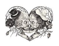 Art Love Skulls Day The Dead Stock Illustration