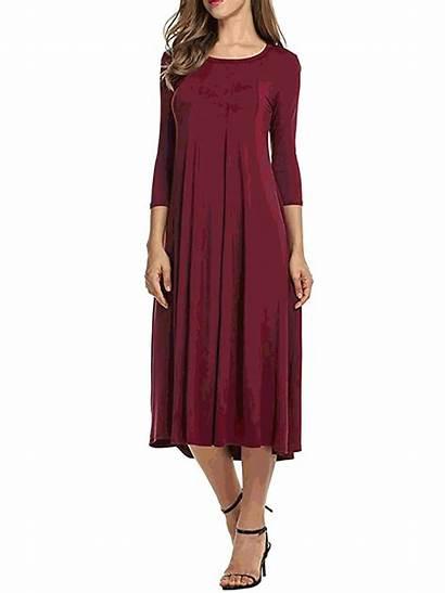 Cotton Elegant Sleeve Neck Daily Crew Dresses