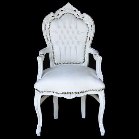 white carver accent dining chair in antique baroque