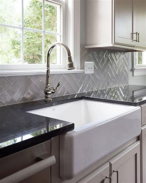 black quartz countertop farm sink design ideas