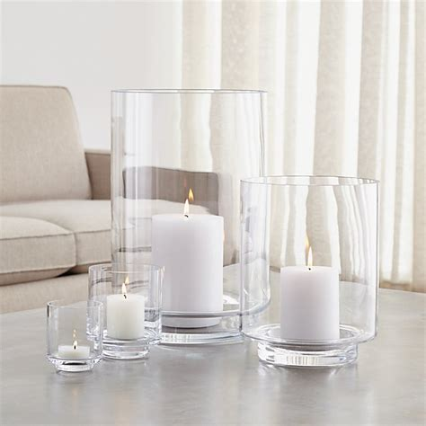 Taylor Glass Hurricane Candle Holders   Crate and Barrel