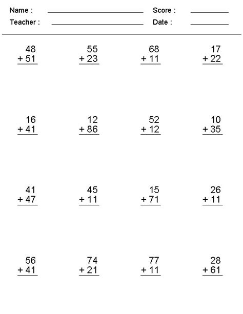 Double Digit Addition With Carrying Worksheets  {download Pdf*}