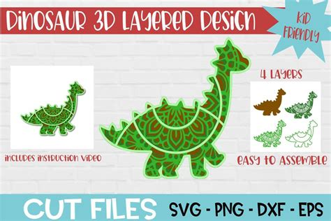 Great for cricut design space, silhouette cameo, clipart, scrapbooking and other craft projects. Dinosaur Mandala 3D Layered SVG Design