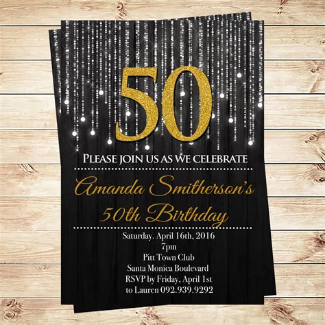 Gold And Black 50th Birthday Invitations and by