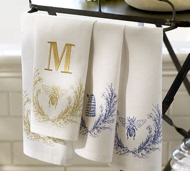 bee guest towels set   potterybarn monogrammed hand