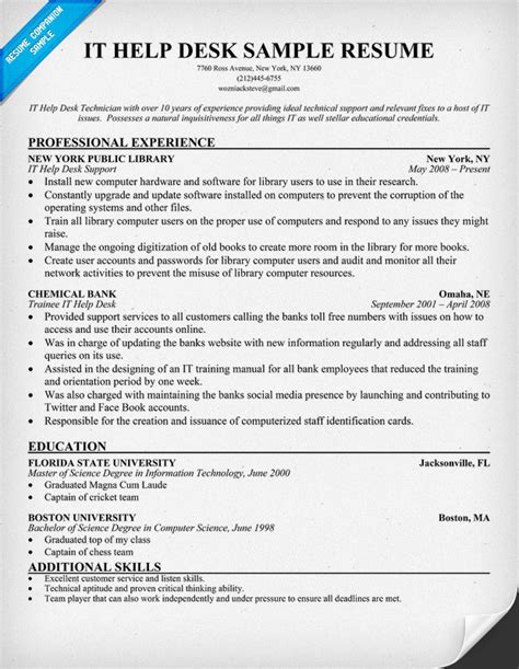 help desk resume exles sle information technology resume entry level